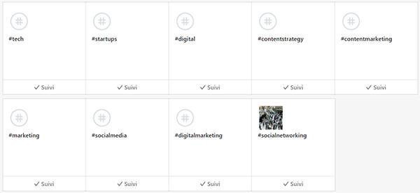 sélection de hashtag linkedin